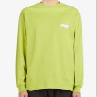 MSGM 21FW 남성 뉴 로고 롱 슬리브 티셔츠 옐로그린 3140MM176 217598 33