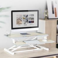 스탠딩데스크 NS800 체리우드 화이트 l 듀얼 모니터 가능 l 높낮이조절 거치대, 게이밍테이블, 서서일하는 간이 보조책상