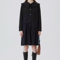 [럭키마르쉐] 러플 카라 체크 드레스 블랙